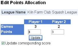Input Your own Squash League Match and Points Allocation System
